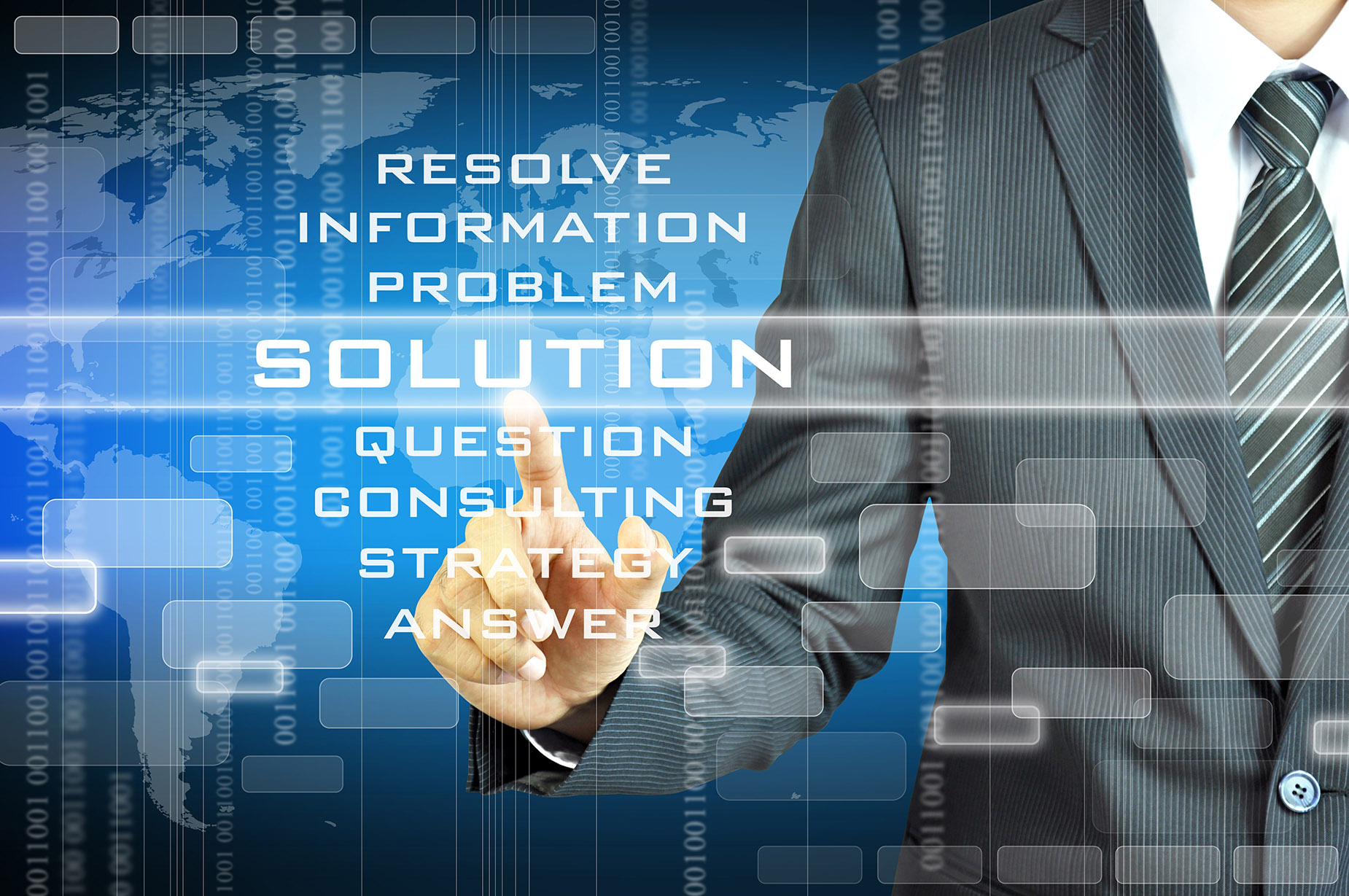 20629268 - businessman touching solution sign on virtual screen